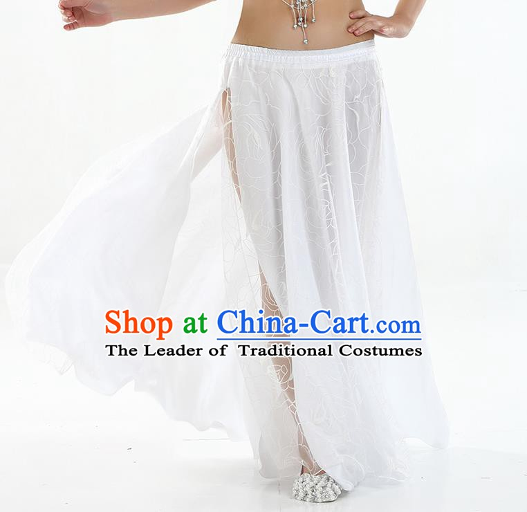 Asian Indian Belly Dance Costume White Rose Skirt Stage Performance Oriental Dance Dress for Women