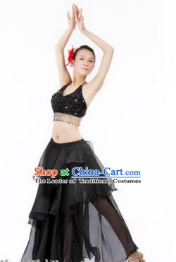Indian Traditional Dance Black Dress Oriental Belly Dance Stage Performance Costume for Women