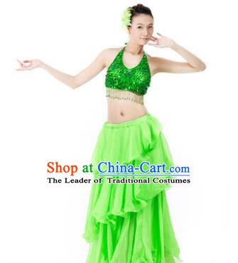 Indian Traditional Dance Green Dress Oriental Belly Dance Stage Performance Costume for Women