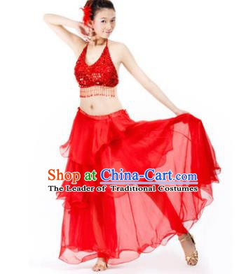 2337adcf7 Indian Traditional Dance Red Dress Oriental Belly Dance Stage Performance  Costume for Women