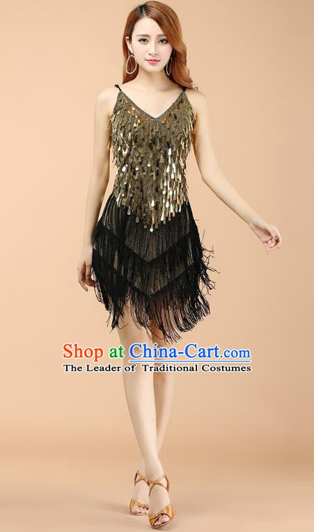 Top Grade Modern Dance Jazz Latin Dance Costume Classical Dance Golden Sequin Dress for Women