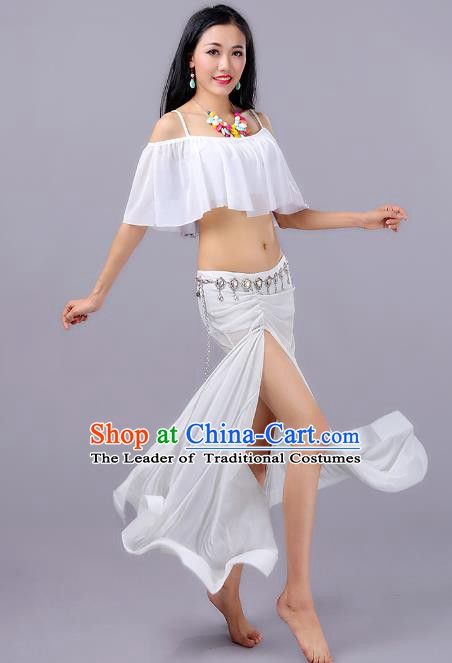 Indian Belly Dance Performance White Dress Traditional India Oriental Dance Costume for Women