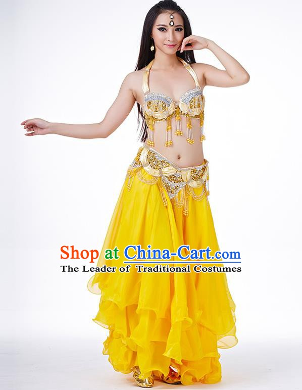 Indian Belly Dance Performance Costume Traditional India Oriental Dance Yellow Dress for Women