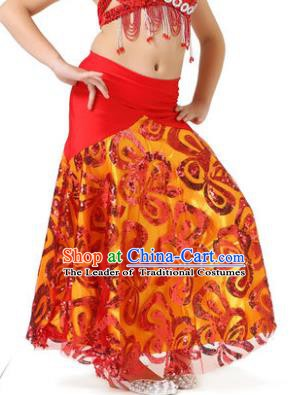 Top Indian Belly Dance Children Red Skirt India Traditional Oriental Dance Performance Costume for Kids