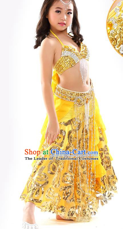 Top Indian Belly Dance Yellow Dress India Traditional Oriental Dance Performance Costume for Kids