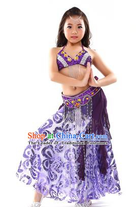 26d9c49fbf Top Indian Belly Dance Purple Dress India Traditional Oriental Dance  Performance Costume for Kids