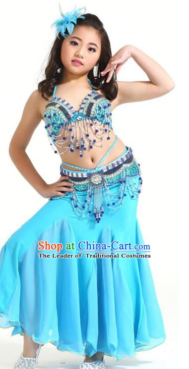 Indian Traditional Children Belly Dance Costume Classical Oriental Dance Blue Dress for Kids
