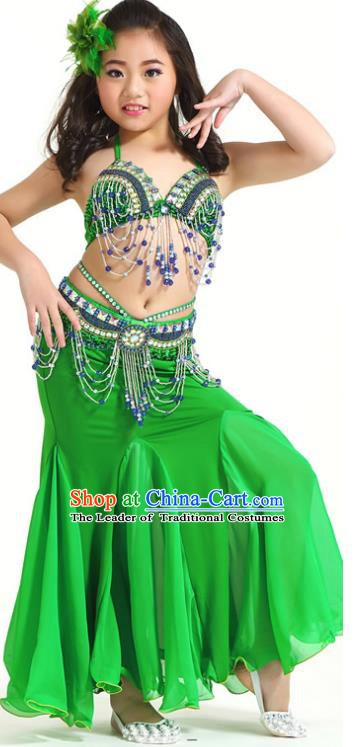 Indian Traditional Children Belly Dance Costume Classical Oriental Dance Green Dress for Kids