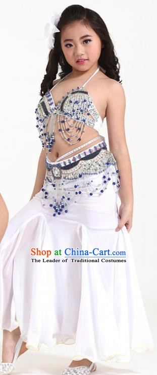 Indian Traditional Children Belly Dance Costume Classical Oriental Dance White Dress for Kids