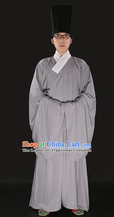 Chinese Ancient Ming Dynasty Taoist Priest Costume Grey Priest Frock for Men