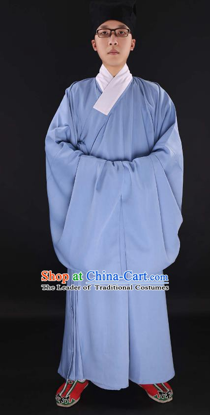 Chinese Ancient Ming Dynasty Taoist Priest Costume Blue Priest Frock for Men