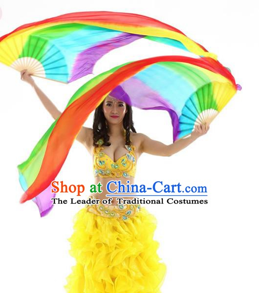 Indian Belly Dance Props Folding Fans Stage Performance Ribbon Fan for Women