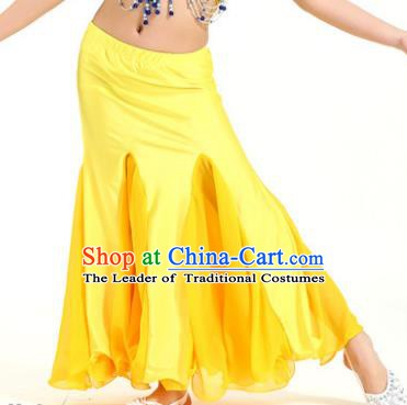Asian Indian Belly Dance Yellow Fishtail Skirt Stage Performance Oriental Dance Clothing for Kids