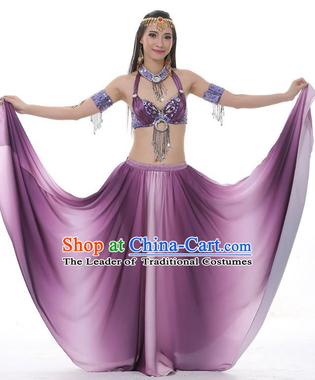 Asian Indian Belly Dance Costume Gradient Purple Dress Stage Performance Oriental Dance Clothing for Women