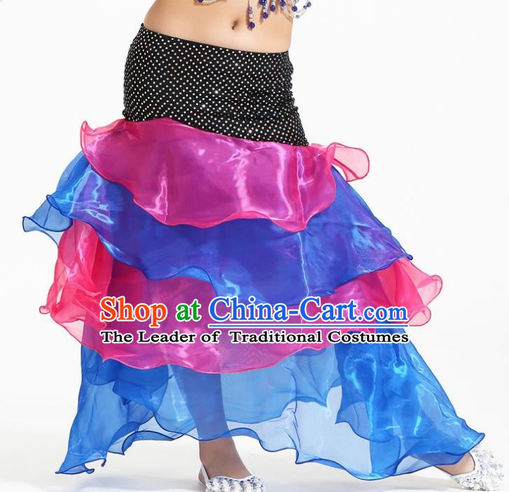 Asian Indian Belly Dance Rosy and Blue Skirt Stage Performance Oriental Dance Clothing for Kids