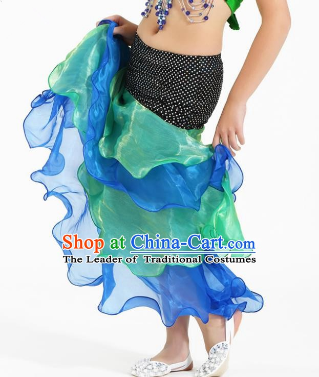 Asian Indian Belly Dance Green and Blue Skirt Stage Performance Oriental Dance Clothing for Kids