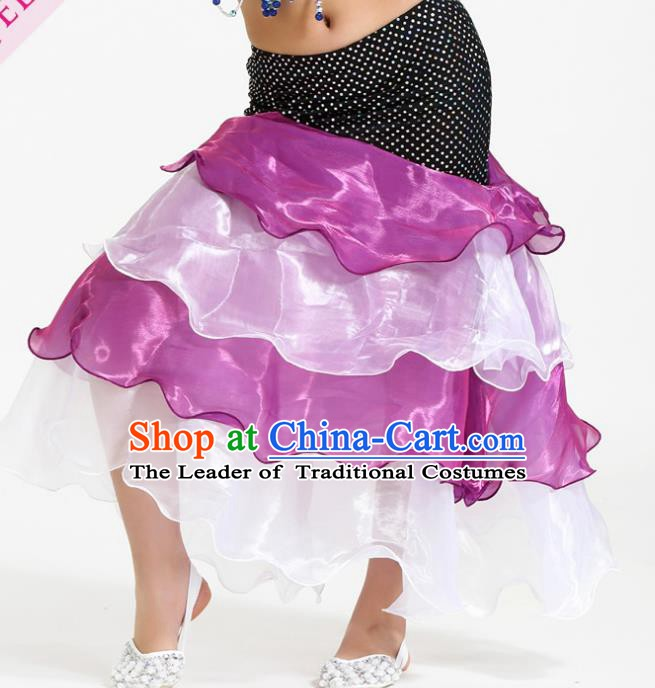 Asian Indian Belly Dance Rosy and Pink Skirt Stage Performance Oriental Dance Clothing for Kids