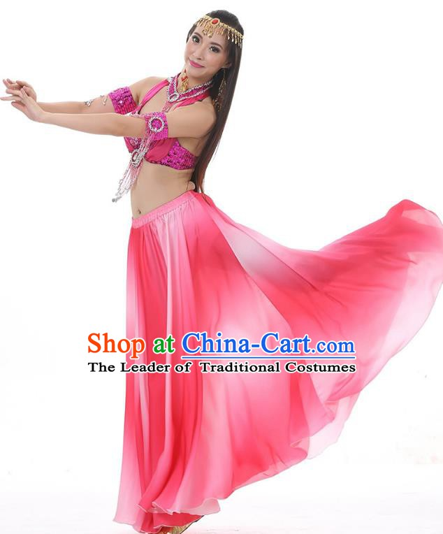 Asian Indian Belly Dance Costume Gradient Rosy Dress Stage Performance Oriental Dance Clothing for Women