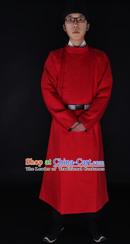 Chinese Ancient Tang Dynasty Imperialbodyguard Costume Red Robe Swordsman Hanfu Clothing for Men