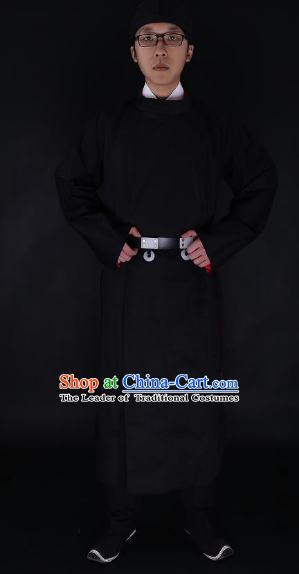Chinese Ancient Tang Dynasty Imperialbodyguard Costume Black Robe Swordsman Hanfu Clothing for Men