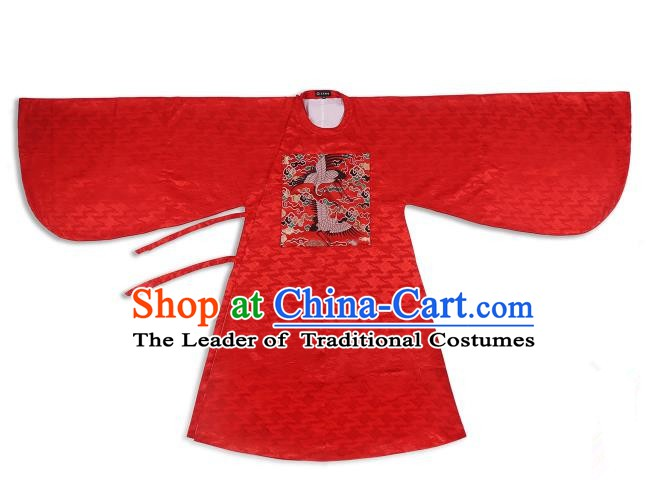 Chinese Ancient Ming Dynasty Princess Wedding Hanfu Costume Red Long Blouse Clothing for Women