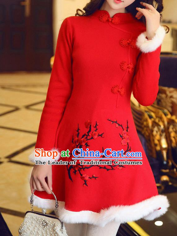 Traditional Chinese National Red Qipao Dress Tangsuit Embroidered Plum Blossom Cheongsam Clothing for Women