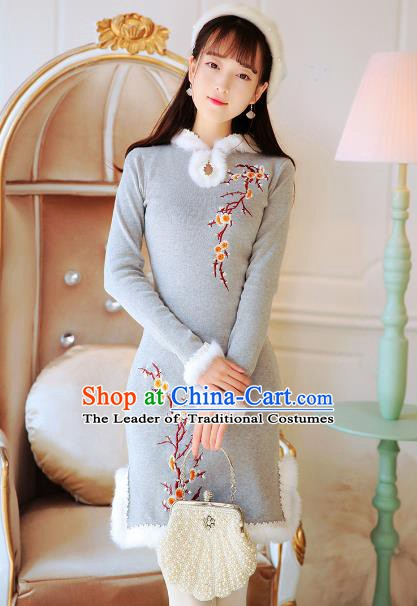 Traditional Chinese National Grey Qipao Dress Tangsuit Embroidered Cheongsam Clothing for Women