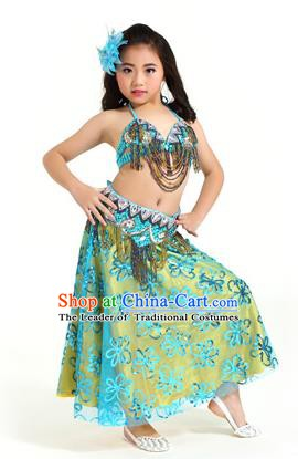 Asian Indian Children Belly Dance Blue Dress Stage Performance Oriental Dance Clothing for Kids