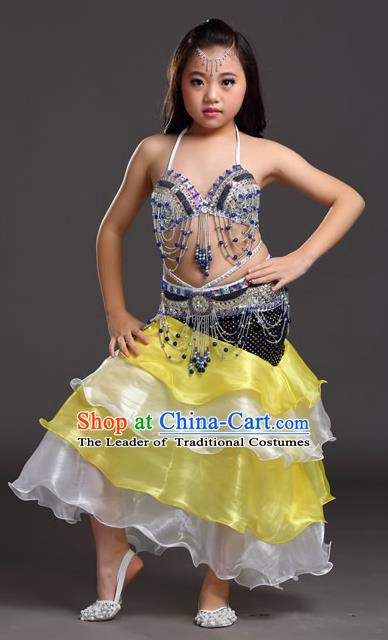 Asian Indian Children Belly Dance Yellow and White Dress Stage Performance Oriental Dance Clothing for Kids