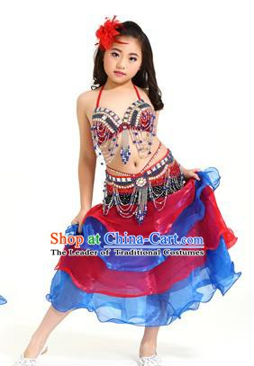 Asian Indian Children Belly Dance Red and Blue Dress Stage Performance Oriental Dance Clothing for Kids