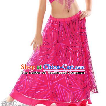 Asian Indian Children Belly Dance Rosy Bust Skirt Raks Sharki Oriental Dance Clothing for Kids