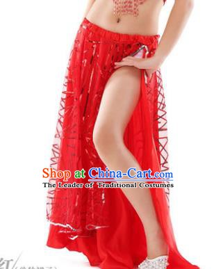 Asian Indian Children Belly Dance Red Bust Skirt Raks Sharki Oriental Dance Clothing for Kids