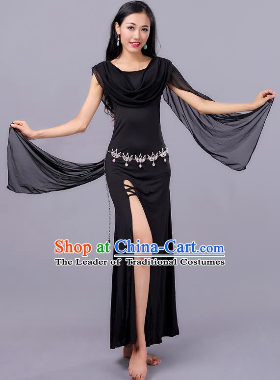 Asian Indian Belly Dance Black Dress Stage Performance Oriental Dance Clothing for Women