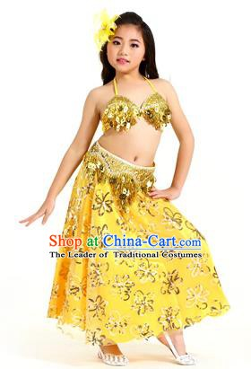 Traditional Indian Children Belly Dance Yellow Dress Raks Sharki Oriental Dance Clothing for Kids
