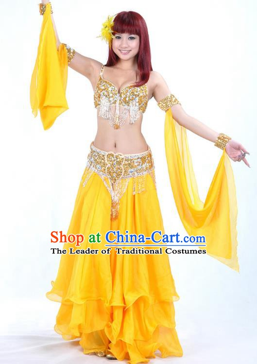 38b0da76f Traditional Bollywood Belly Dance Yellow Dress Indian Oriental Dance Costume  for Women