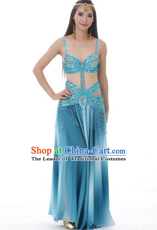 Traditional Bollywood Belly Dance Gradient Blue Dress Indian Oriental Dance Costume for Women