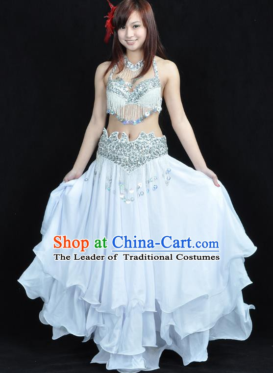 Traditional Bollywood Belly Dance Performance Clothing White Dress Indian Oriental Dance Costume for Women