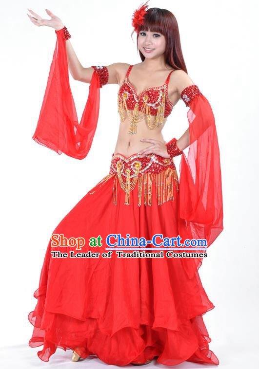 Traditional Bollywood Belly Dance Performance Clothing Red Dress Indian Oriental Dance Costume for Women