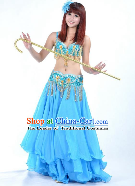 Traditional Bollywood Belly Dance Performance Clothing Blue Dress Indian Oriental Dance Costume for Women