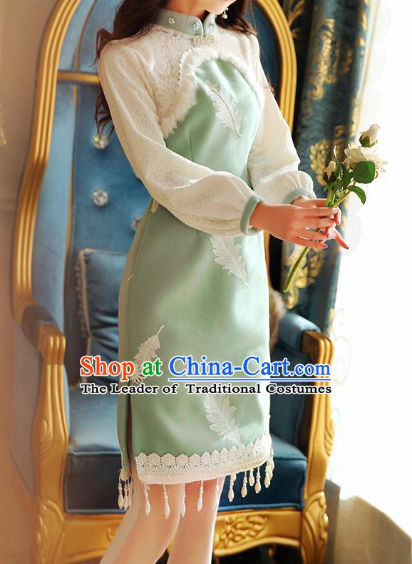 Traditional Chinese National Green Wool Dress Tangsuit Cheongsam Clothing for Women