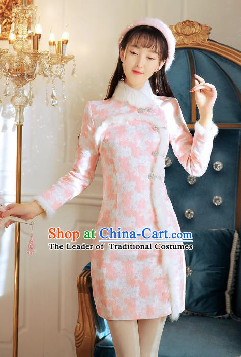 Traditional Chinese National Pink Wool Dress Tangsuit Cheongsam Clothing for Women