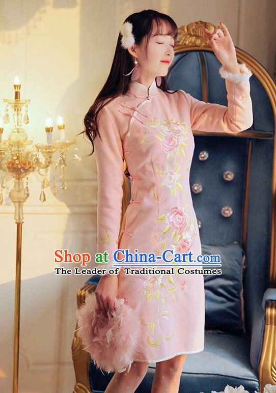 Traditional Chinese National Tangsuit Embroidered Peony Qipao Dress Pink Cheongsam Clothing for Women