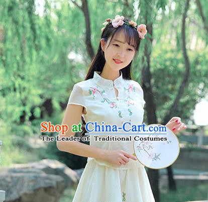Chinese National Costume Embroidered Cheongsam Shirts Upper Outer Garment Tangsuit Qipao Blouse for Women