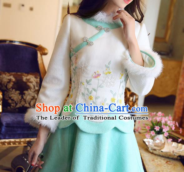 Chinese National Costume White Wool Cheongsam Embroidered Shirts Tangsuit Qipao Blouse for Women