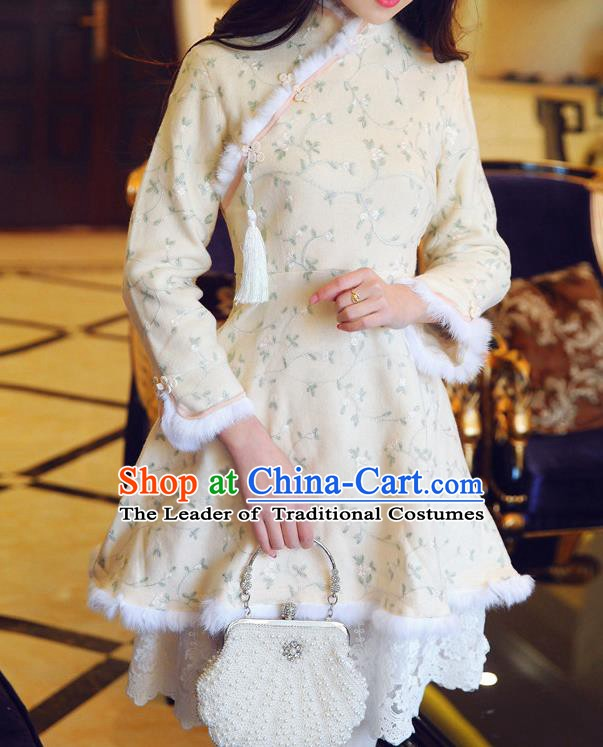 Traditional Chinese National Embroidered Beige Qipao Dress Tangsuit Cheongsam Clothing for Women