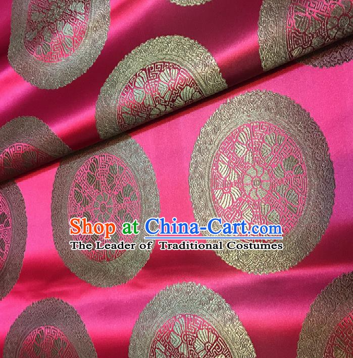 Chinese Traditional Fabric Palace Pattern Design Rosy Brocade Chinese Mongolian Robe Fabric Asian Material