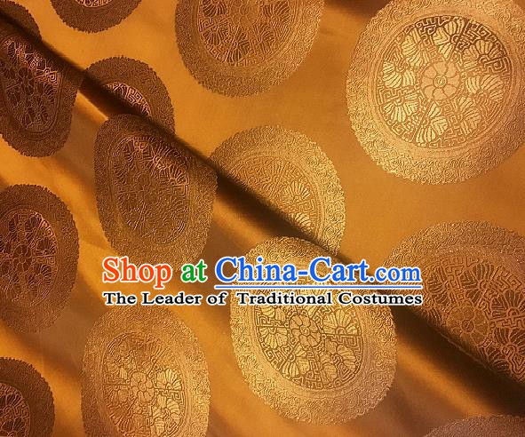 Chinese Traditional Fabric Palace Pattern Design Golden Brocade Chinese Mongolian Robe Fabric Asian Material