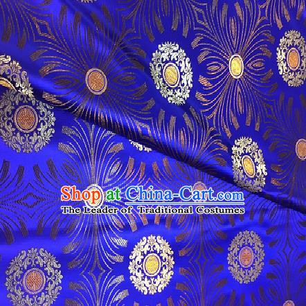 Chinese Traditional Fabric Mongolian Robe Blue Brocade Chinese Fabric Asian Tibetan Robe Material