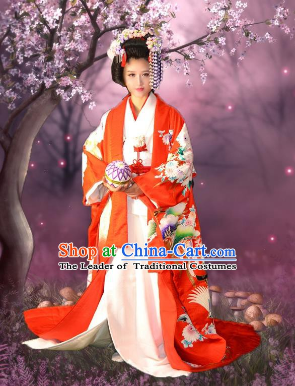 Japan Traditional Princess Costume Red Yukata Dress Japanese Wedding Furisode Kimono for Women