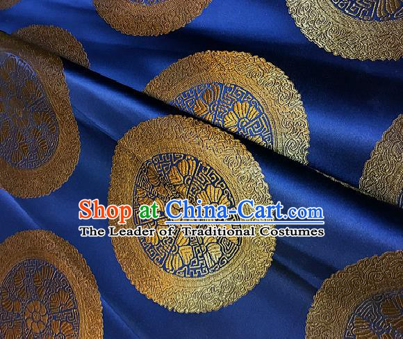Chinese Traditional Fabric Palace Pattern Design Royallbue Brocade Chinese Mongolian Robe Fabric Asian Material